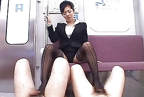 Asian;Foot Fetish;Footjob;Subway;Train;Asian Girl;Pantyhose;Japan Subway train footjob