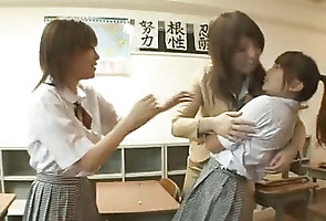 Japanese;Lesbians;Kissing Scoolgirl and...