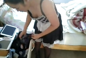 teenager;young;petite;black;stockings;high;heels;french;maid,Asian;Teen;Small Tits;Uniforms French Maid...